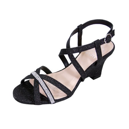 854529fd94d6 FLORAL Joanne Women Extra Wide Width Chic Rhinestone Strappy Wedge Party  Heeled Sandals