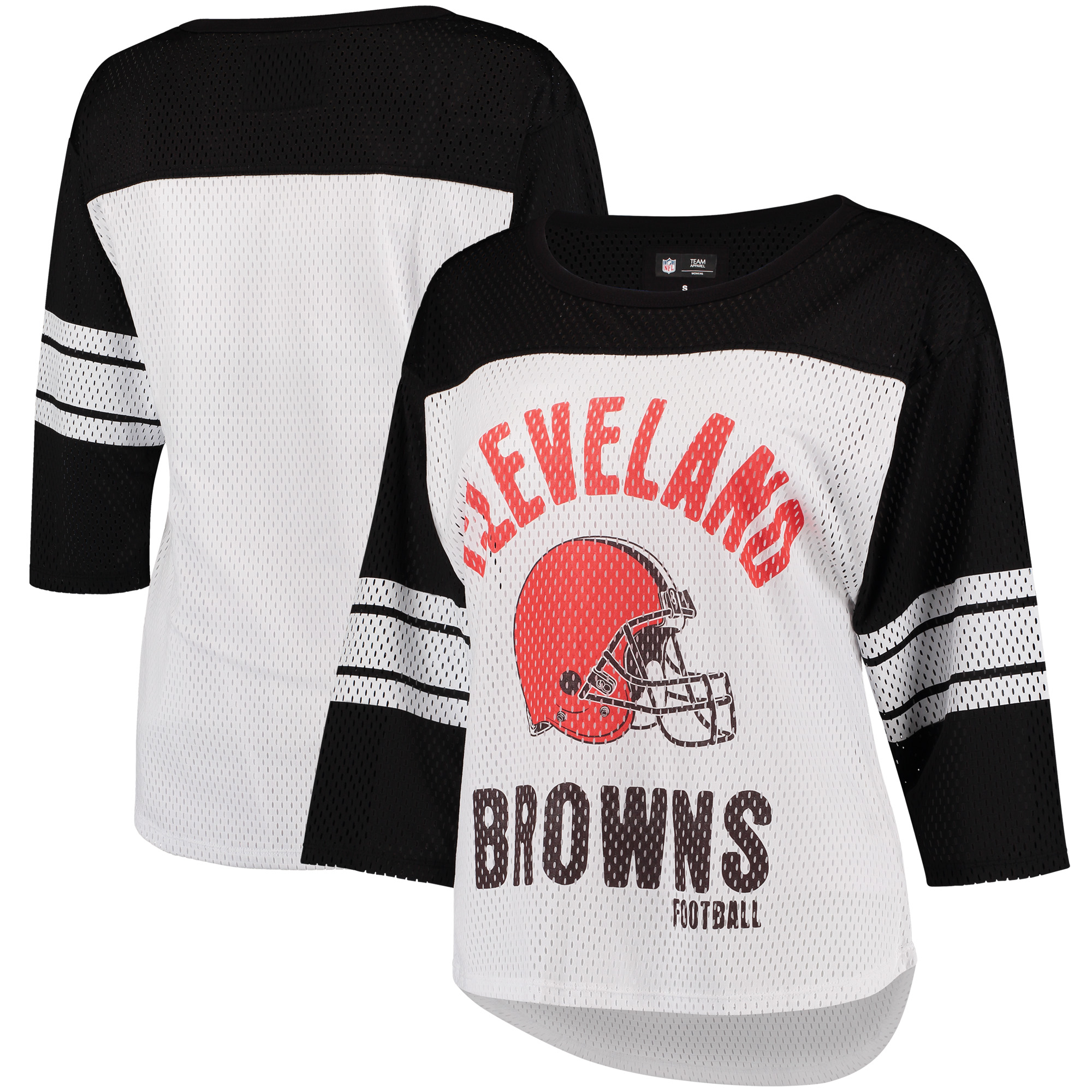 Cleveland Browns G-III 4Her by Carl Banks Women's First Team Three-Quarter Sleeve Mesh T-Shirt - White/Black