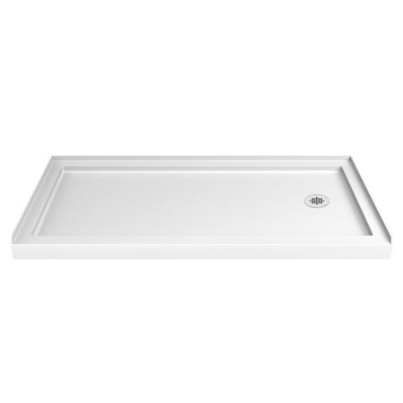 DreamLine SlimLine 30 in. D x 60 in. W x 2 3/4 in. H Right Drain Single Threshold Shower Base in (Single Threshold Rectangular Shower Base)