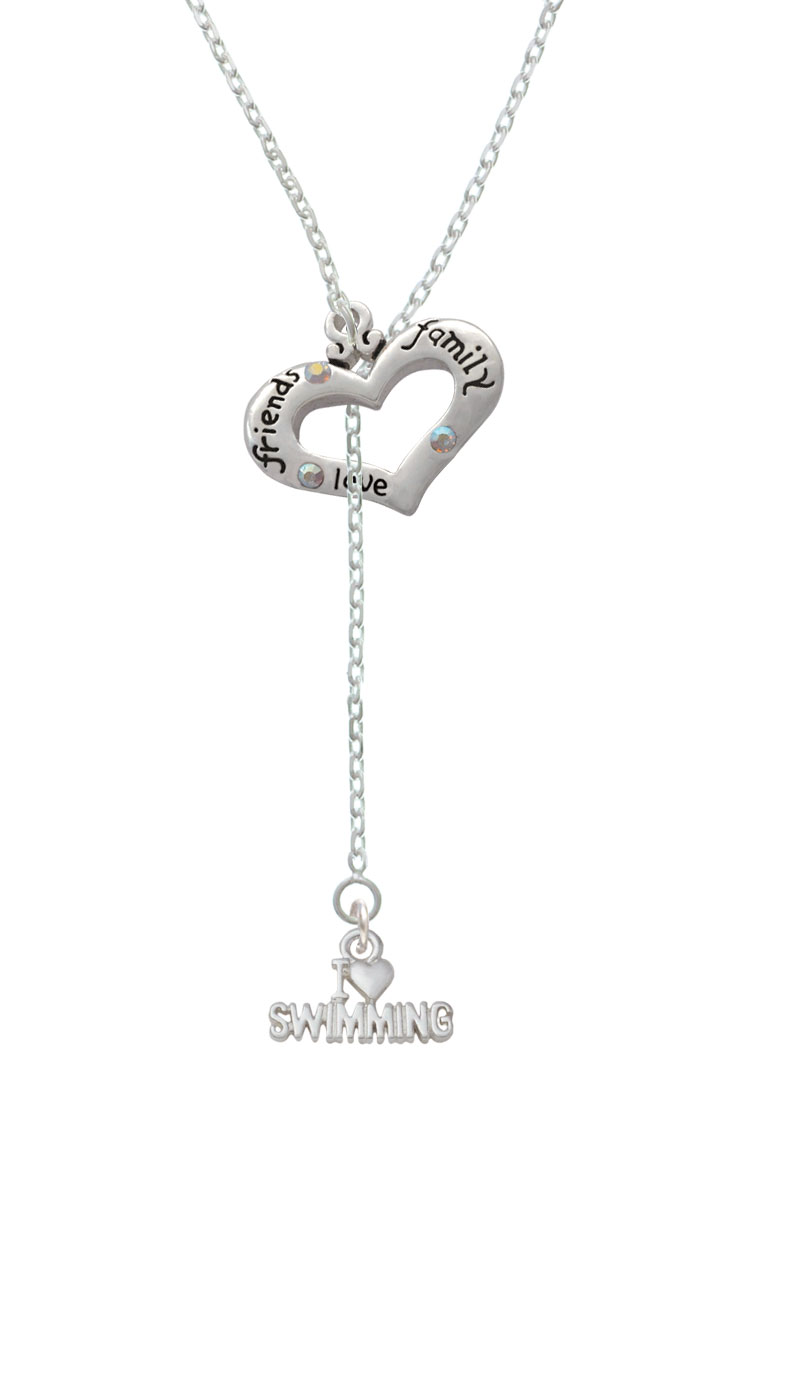 I Heart Swimming Friends Family Heart Lariat Necklace by Delight and Co.