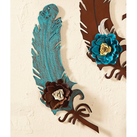 12 Inch Turquoise Metal Art Feather with Rust Rose