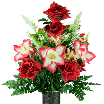 Red Open Roses with Amaryllis Artificial Bouquet, featuring the Stay-In-The-Vase Design(c) Flower Holder (MD1454)