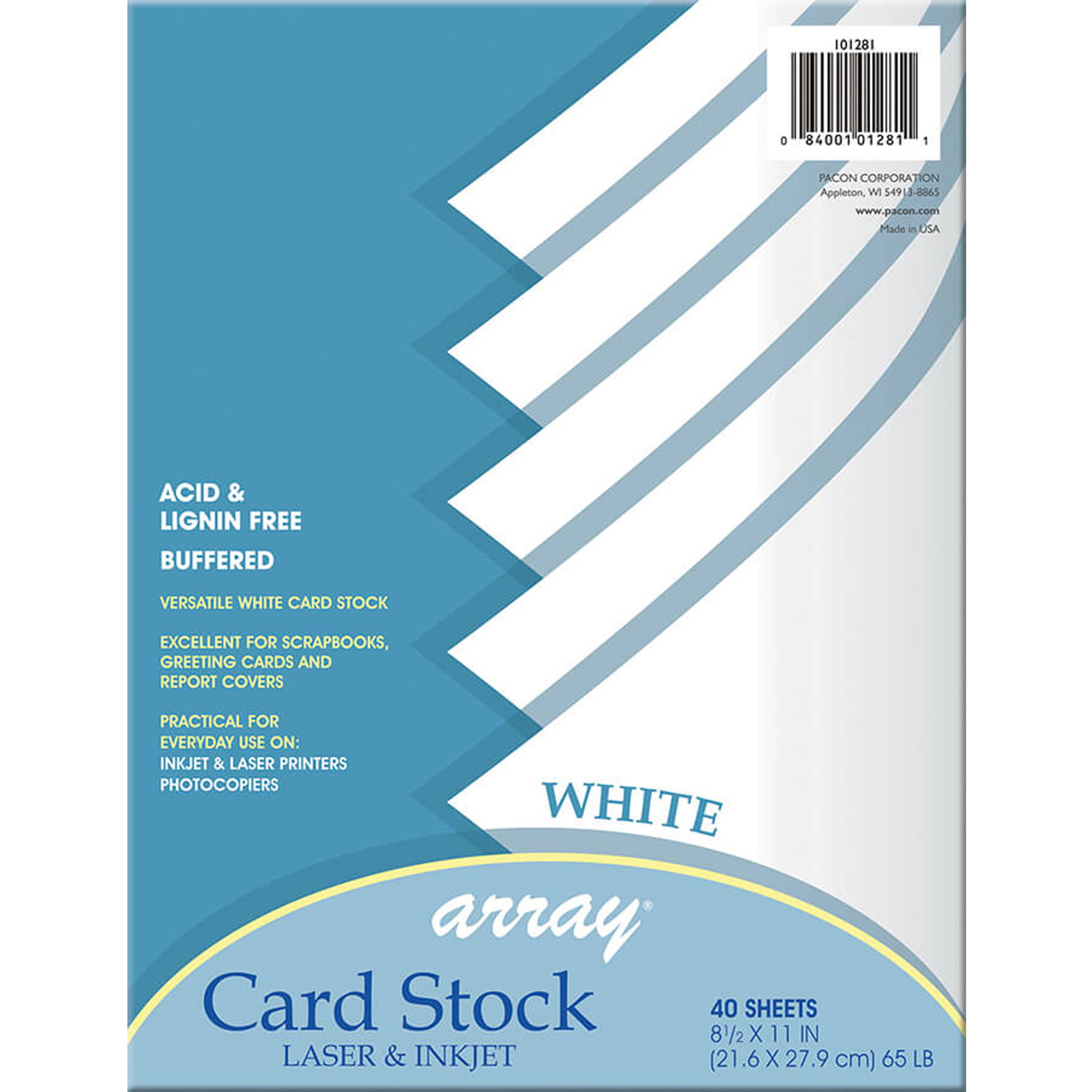 Array Card Stock, 65 lb., White , 40 SHeets Per Pack, 6 Packs by PACON CORPORATION
