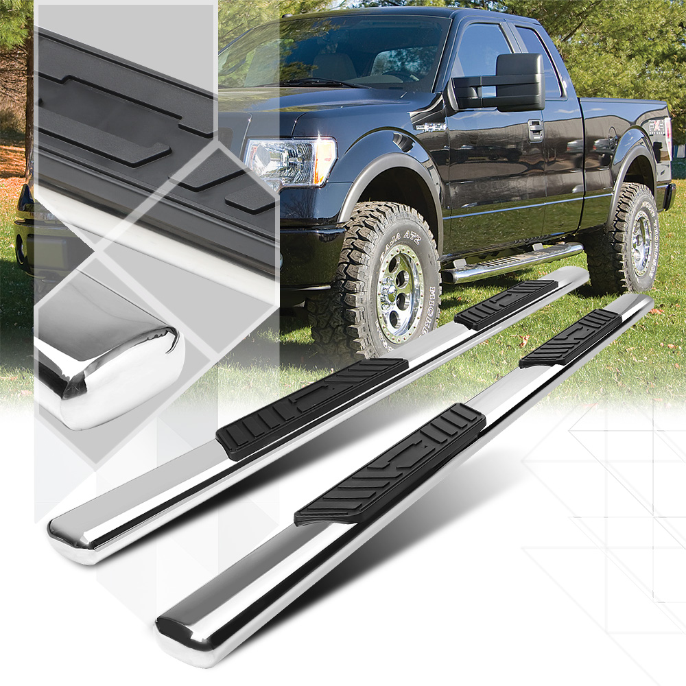 """Chrome 5""""Oval Side Step Nerf Bar Running Board for 09-14 F150 Crew/SuperCrew Cab 10 11 12 13"""