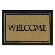 """Ottomanson Doormat Rectangular Welcome Print Easy Clean Mat, Beige, 20""""X30"""""""