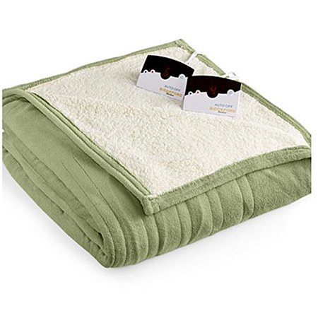 Biddeford 2063 9052140 633 Microplush Sherpa Electric Heated Blanket Queen Sage