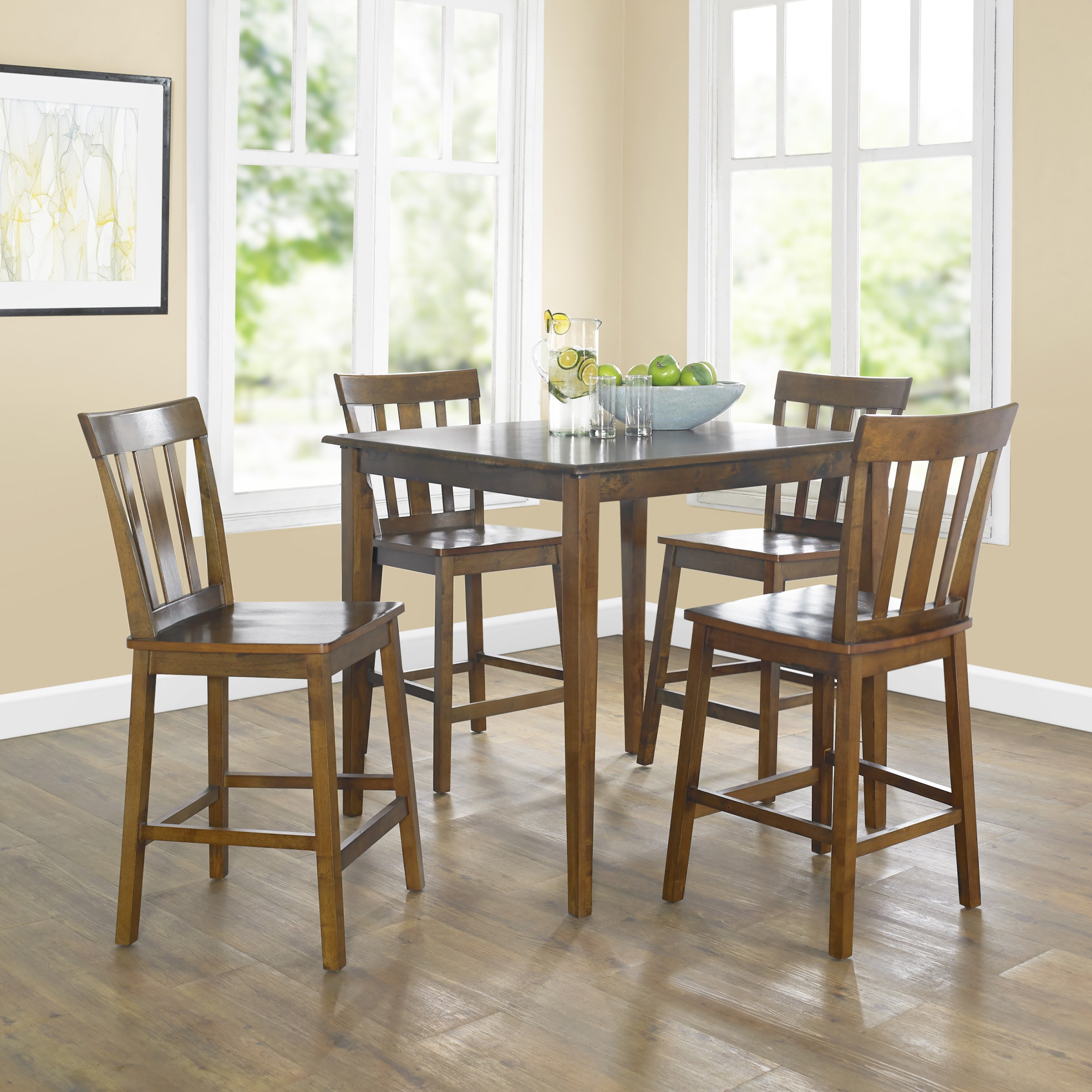 Mainstays 5 Piece Mission Style Dining Set, Cherry