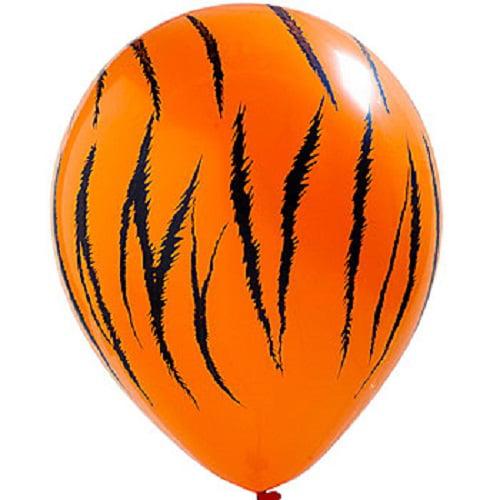"12 Tiger Print 11"" Latex Balloons Qualatex Black & Orange Jungle Safari Party"