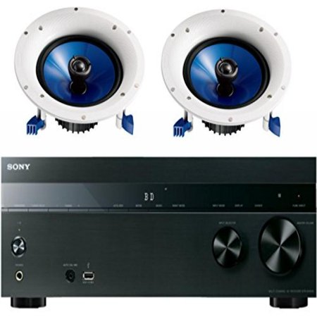 Sony 5.2-Channel 725-Watt 4K A/V Home Theater Receiver + Yamaha High-Performance Moisture Resistant Natural 2-Way 140 watts Surround Sound in-ceiling Speaker System (Pair)