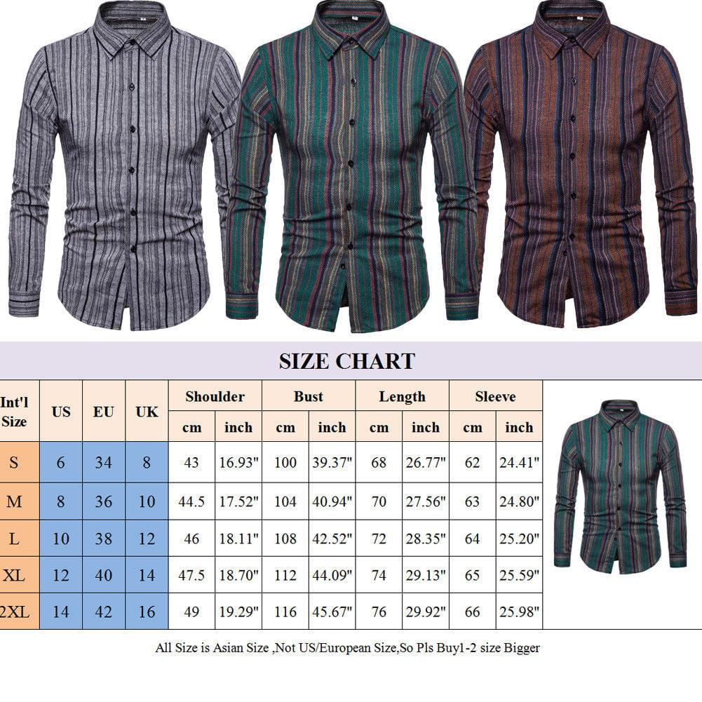 Urkutoba Stylish Men Casual T Shirts Striped Long Sleeve Slim Fit