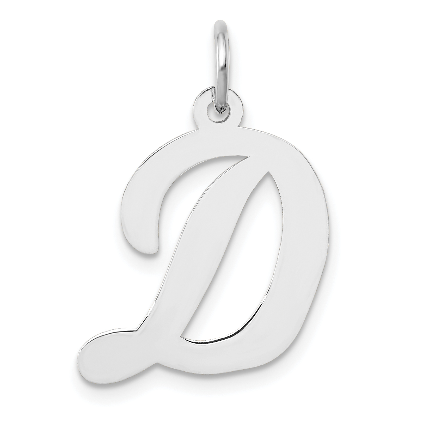 14K White Gold Polished Script Initial Letter D Charm Pendant