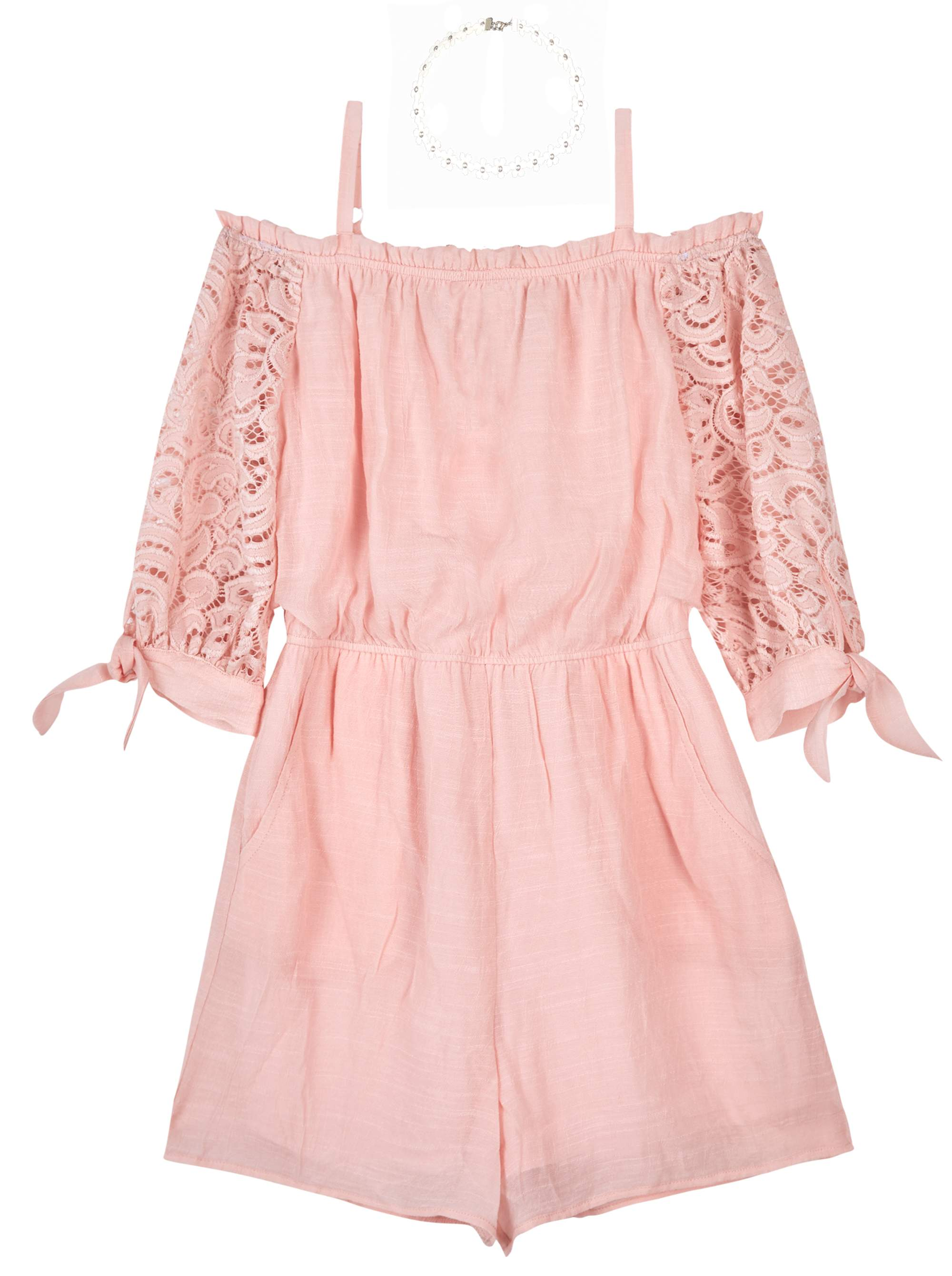 Cold Shoulder Lace Sleeve Romper with Necklace (Big Girls)