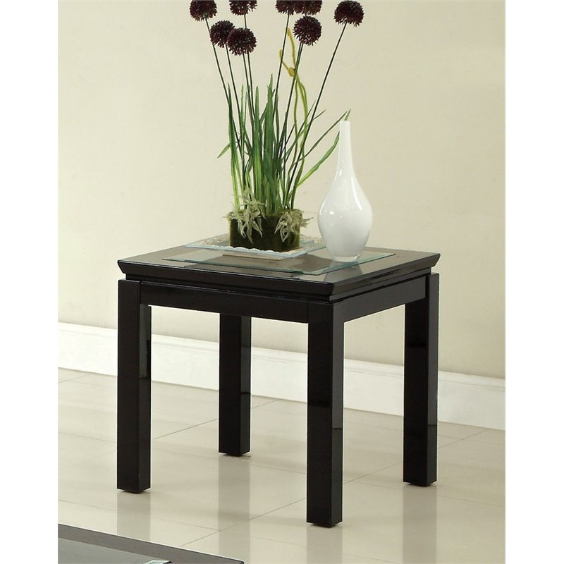 Furniture of America Kristof Square End Table in Glossy Black
