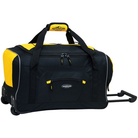 22 Rolling Duffel with Telescopic Handle - Black w/ Yellow (4 Piece Duffel)