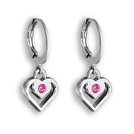 7ea117f0972823 Pink Crystal & Silver Heart Earrings For Women And Girls Heart Hoops  Earrings Set | Heart