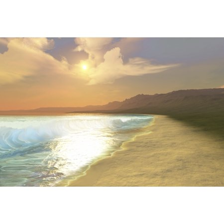 A beautiful sunset on this quiet peaceful beach with gorgeous water Poster (Sunset Water)