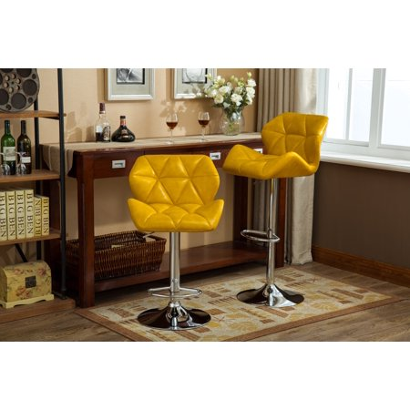 Marvelous Roundhill Furniture Glasgow Contemporary Tufted Adjustable Height Hydraulic Bar Stools Set Of 2 Black Theyellowbook Wood Chair Design Ideas Theyellowbookinfo