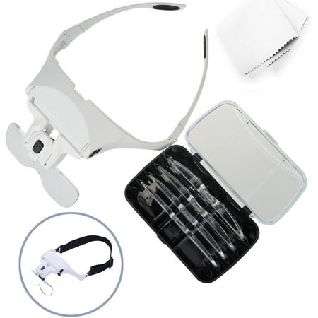 Glam Hobby h6902B Head Mount Magnifier with LED Head Light Bracket and Headband, 5 Replaceable and Interchangeable Lenses: 1.0X, 1.5X, 2.0X, 2.5X,