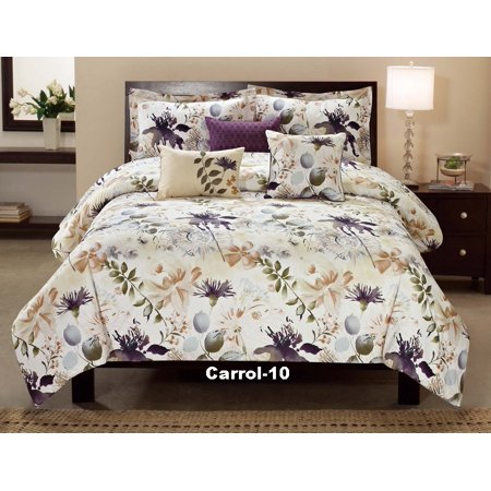 Unique Home Carrol Multi Color Floral Comforter 6 Piece Bed Set Ruffled Bed In A Bag Clearance bedding Comforter Duvet Fade Resistant, Super Soft, Queen, Ivory Color