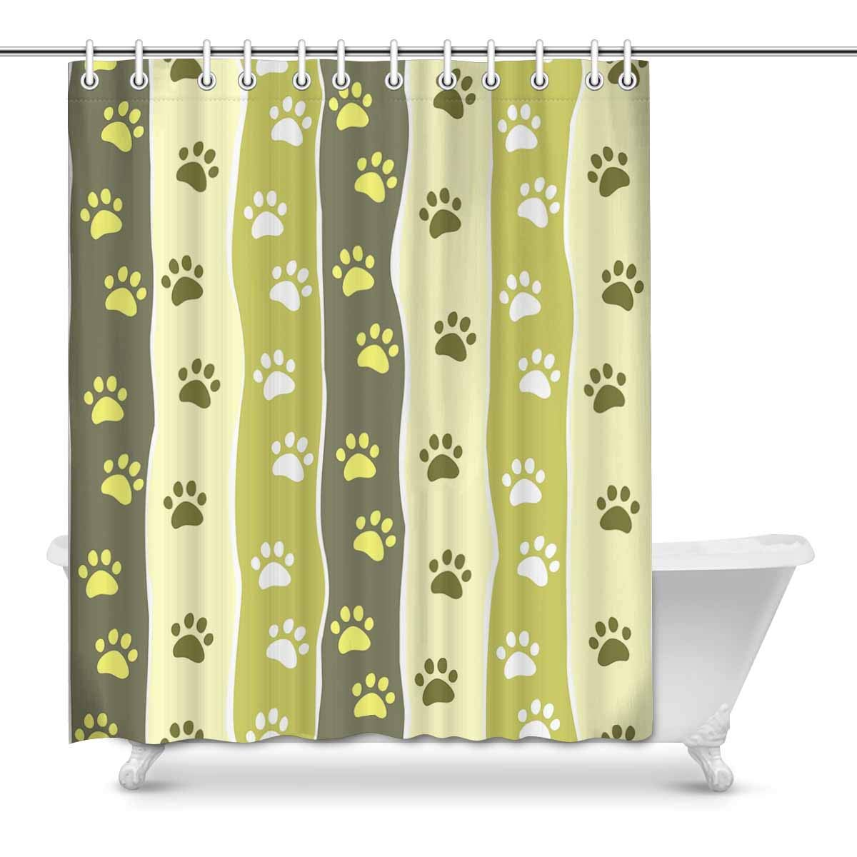 Pop Paw Striped House Decor Shower Curtain For Bathroom Bathroom Shower Curtain Set 60x72 Inch