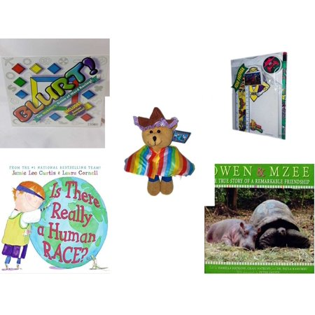 Children's Gift Bundle [5 Piece] -  Blurt! The Webster's  of Word Racing!  - 1994 Mighty Morphin Power Rangers Memo Pack - Bears of The World Mexico  -