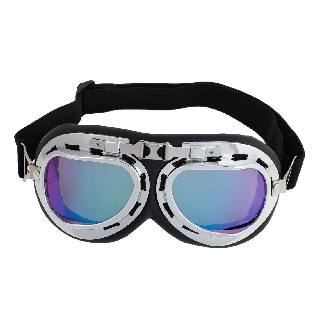 Unisex Silver Tone Plastic Frame Colored Lens Wind Sand Dust Goggles