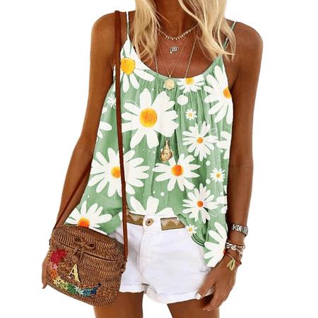 Summer Floral Sleeveless Bohemian Printed Beach T Shirt Tank Tops