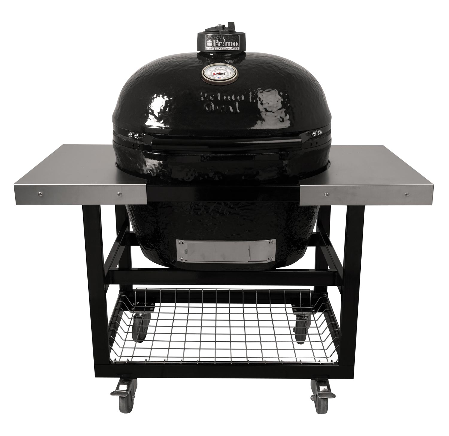 Primo Oval XL 400 Ceramic Smoker Grill On Cart with 2-Piece SS Side Tables by