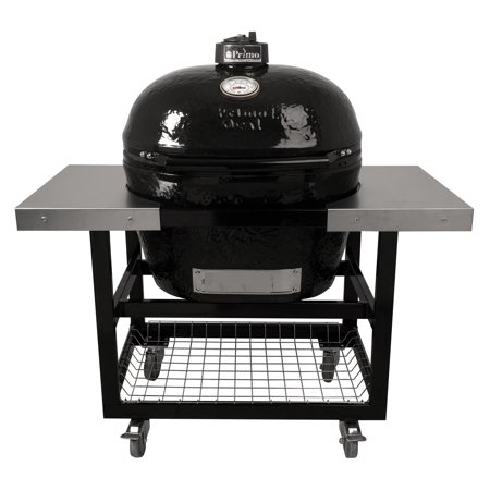 Primo Oval XL 400 Ceramic Smoker Grill On Cart with 2-Piece SS Side Tables