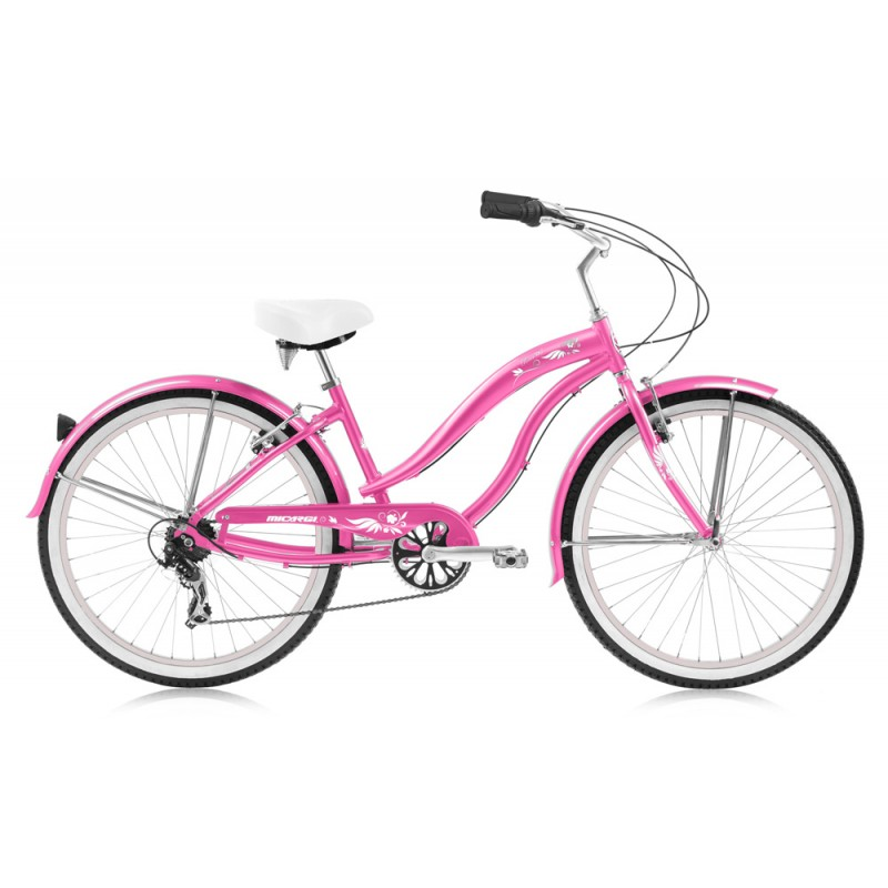 "Micargi Rover LX 24"" 7 Speed Aluminum Women's Beach Cruiser Bike - Pink"