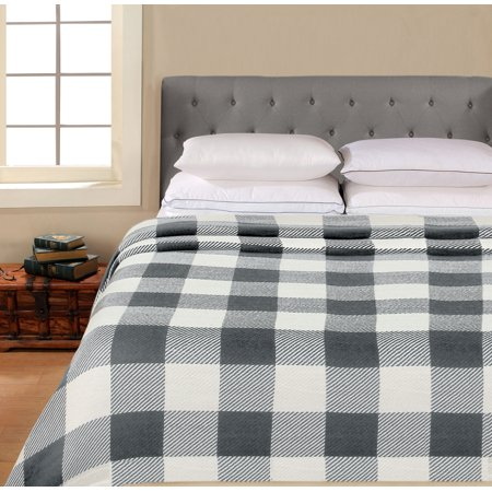 Wolf Cotton Blanket (Better Homes & Gardens Cotton Buffalo Plaid Blanket, Grey Full/Queen )