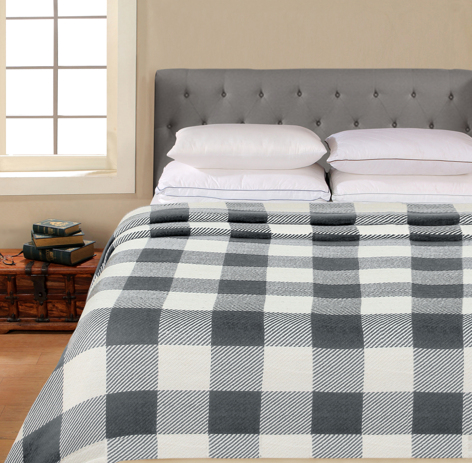 Better Homes & Gardens Cotton Buffalo Plaid Blanket, Grey Full/Queen