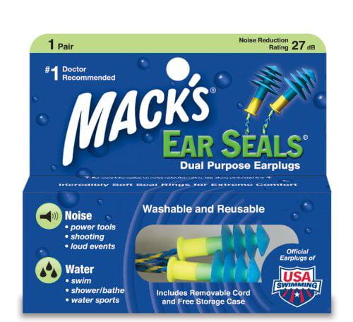 4 Pack - Macks Ear Seals Dual Purpose Ear Plugs - 1 Pair Each