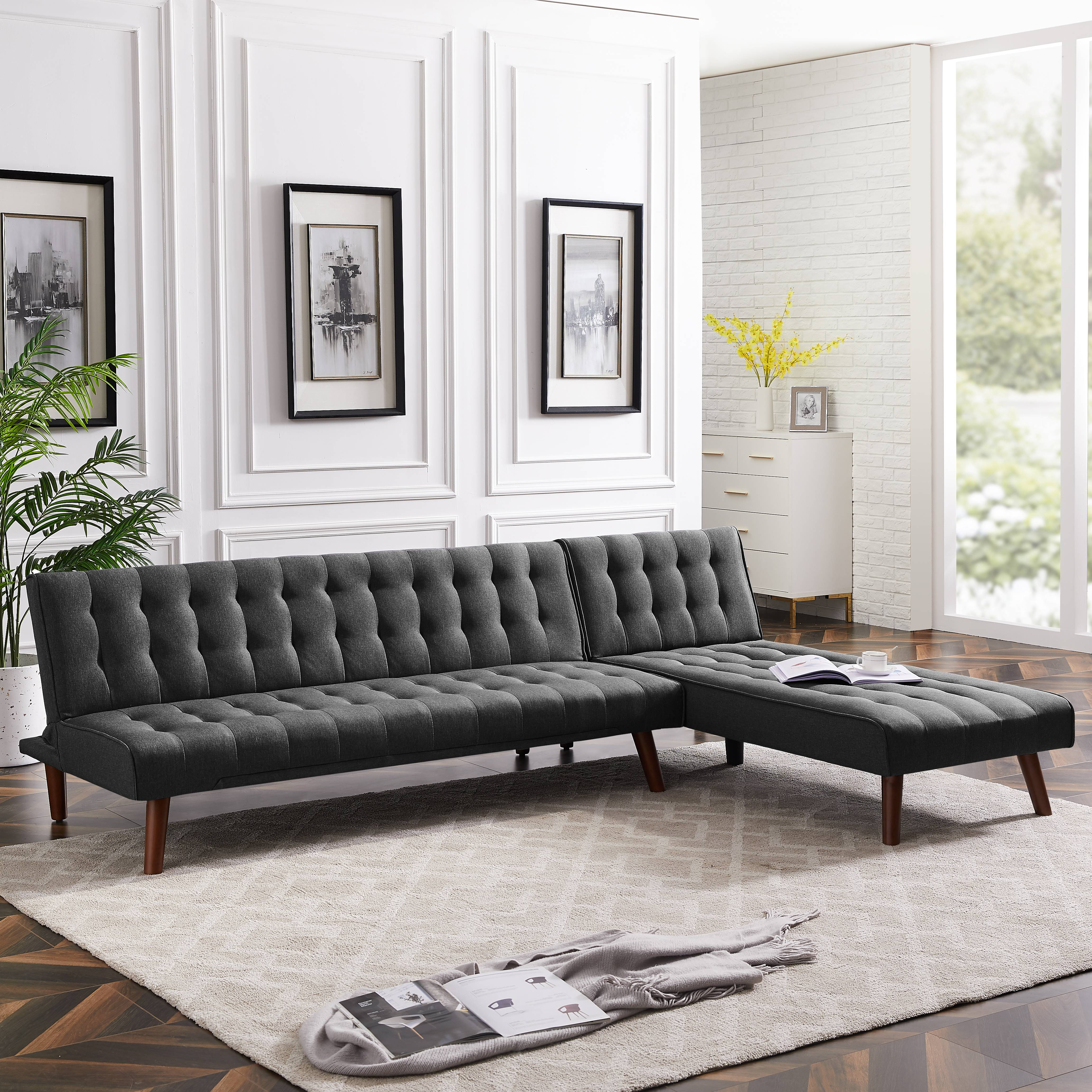 Picture of: Convertible Sofa Bed Sofa Bed Sleeper Reversible Sectional Sofa Sleeper Recliner Sofa Bed Set Home Use Multipurpose Sofa Bed Fabric Sectional Sofa For Living Room Bedroom Balcony Black Y0627 Walmart Com