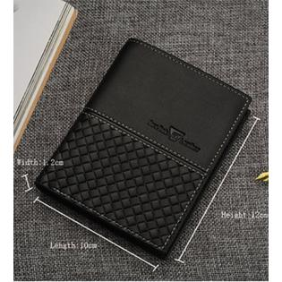 Men's Vertical Section Leather Wallet Black