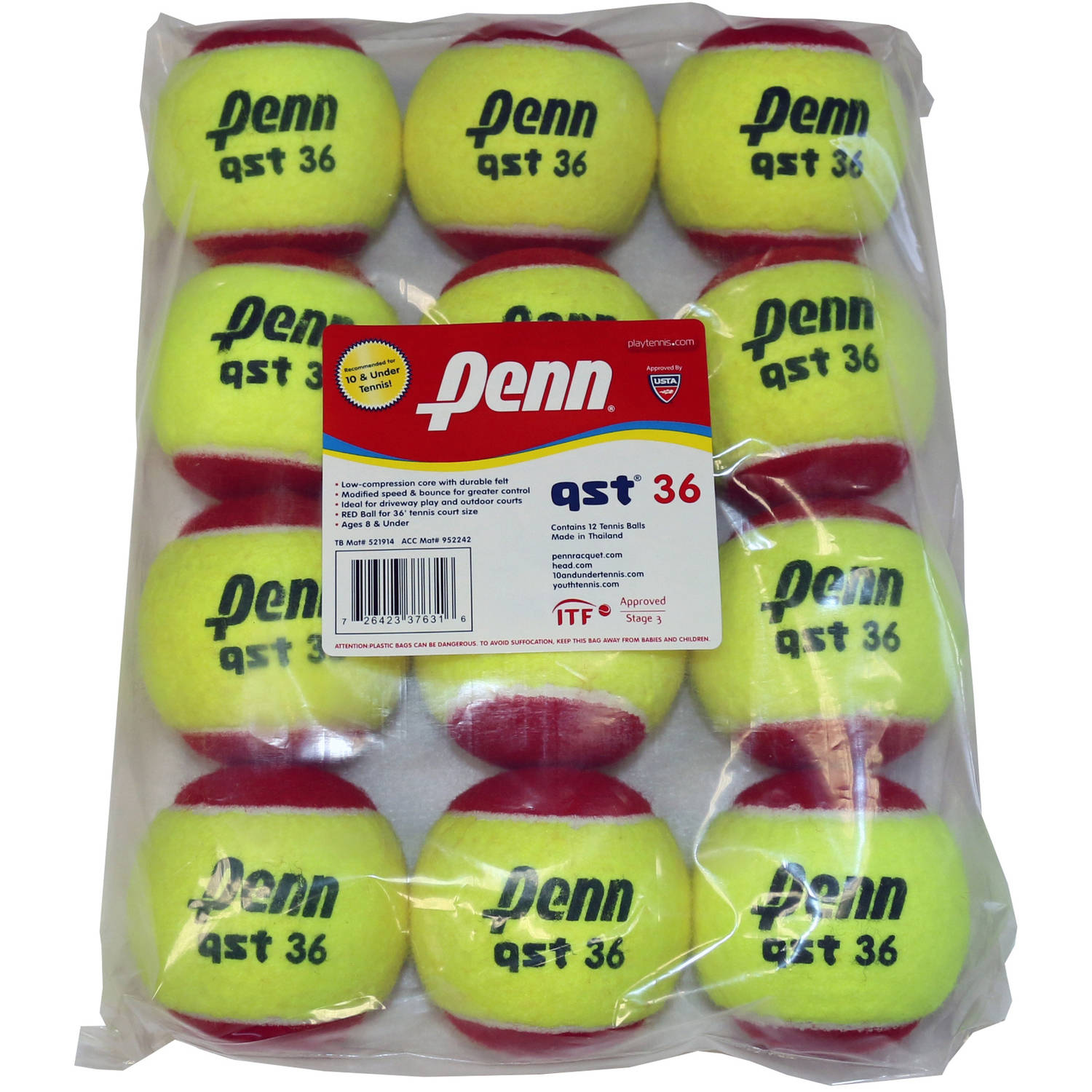 Penn QST 36 Red Felt 12-Ball Polybag