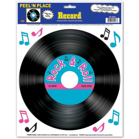 55407 Record Peel 'N Place Party Decorations, 12-Inch by 15-Inch Sheet, This item is a great value! By Beistle - Record Decorations