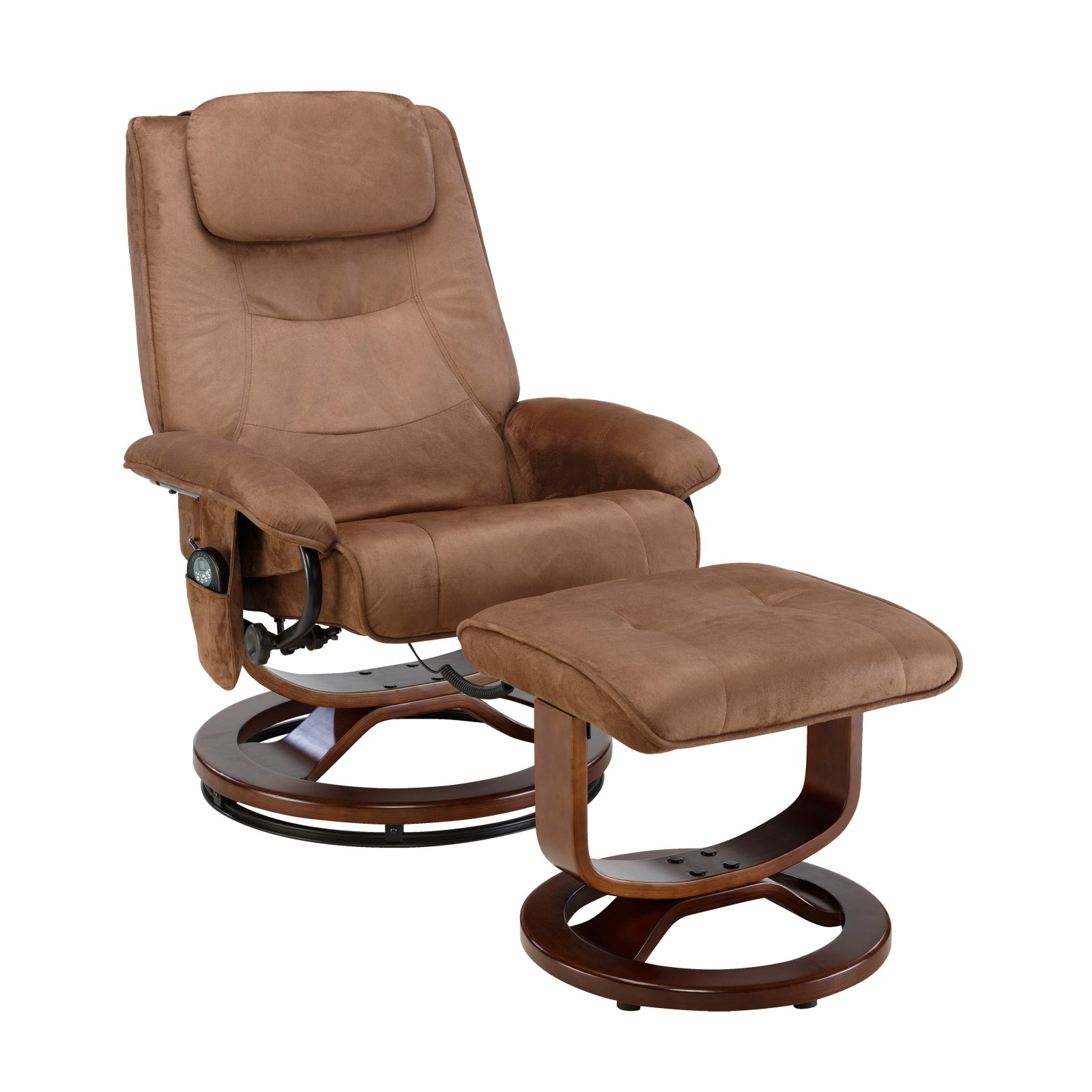 Charmant Relaxzen Reclining Massage Chair And Ottoman, Brown Microseude