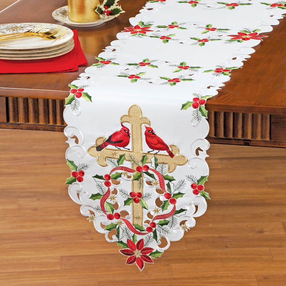 Embroidered Poinsettia And Cross Table Linens, Runner by Collections Etc