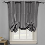 "Soho Triple-Pass Thermal Insulated Blackout Curtain Top Grommet - Tie Up Shade for Small Window ( 42"" W X 63"" L) - Gray"