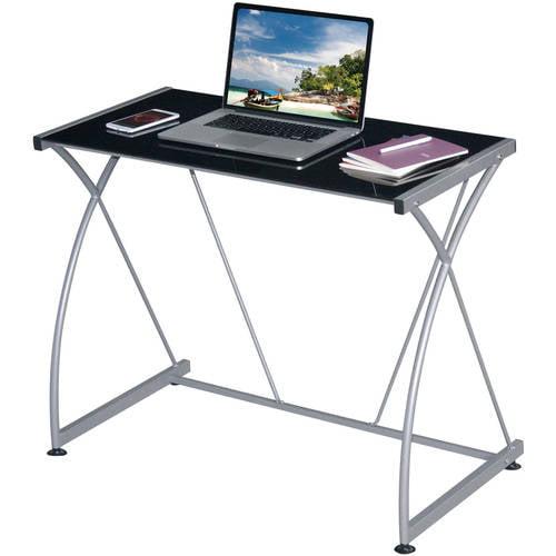 Techni Mobili Tempo Grey Desk, Multiple Glass Finishes