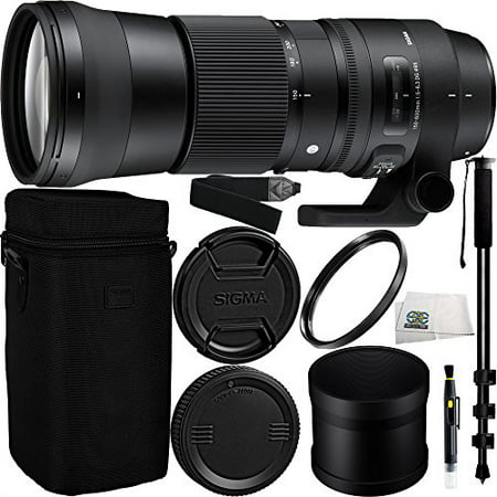 Sigma 150-600mm f/5-6.3 DG OS HSM Contemporary Lens for Nikon F Bundle Includes Manufacturer Accessories + 72 inch