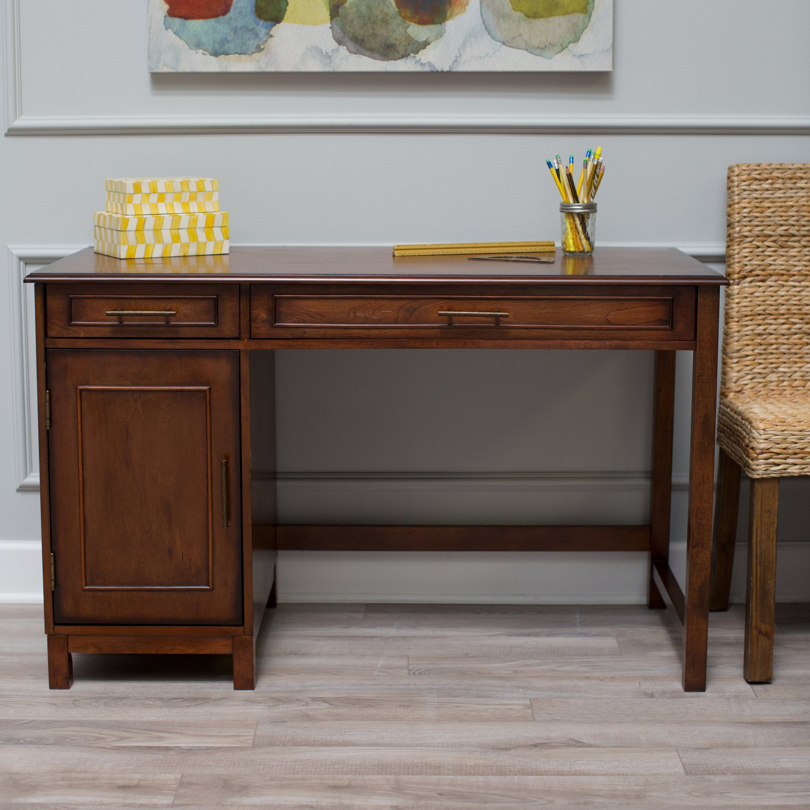 Classic Playtime Bennington Desk with Optional Hutch and Bookcase - Rustic Walnut
