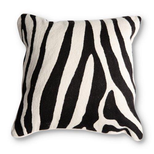 All Over Hand Crewel Pillow Cover - Zebra
