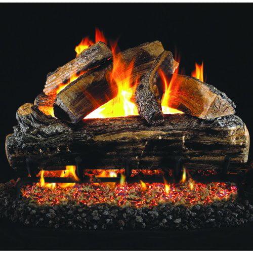 Peterson Real Fyre 24-inch Split Oak Log Set With Vented Natural Gas G45 Burner - Match Light