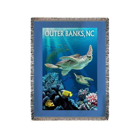 Outer Banks  North Carolina   Sea Turtles   Lantern Press Poster  60X80 Woven Chenille Yarn Blanket