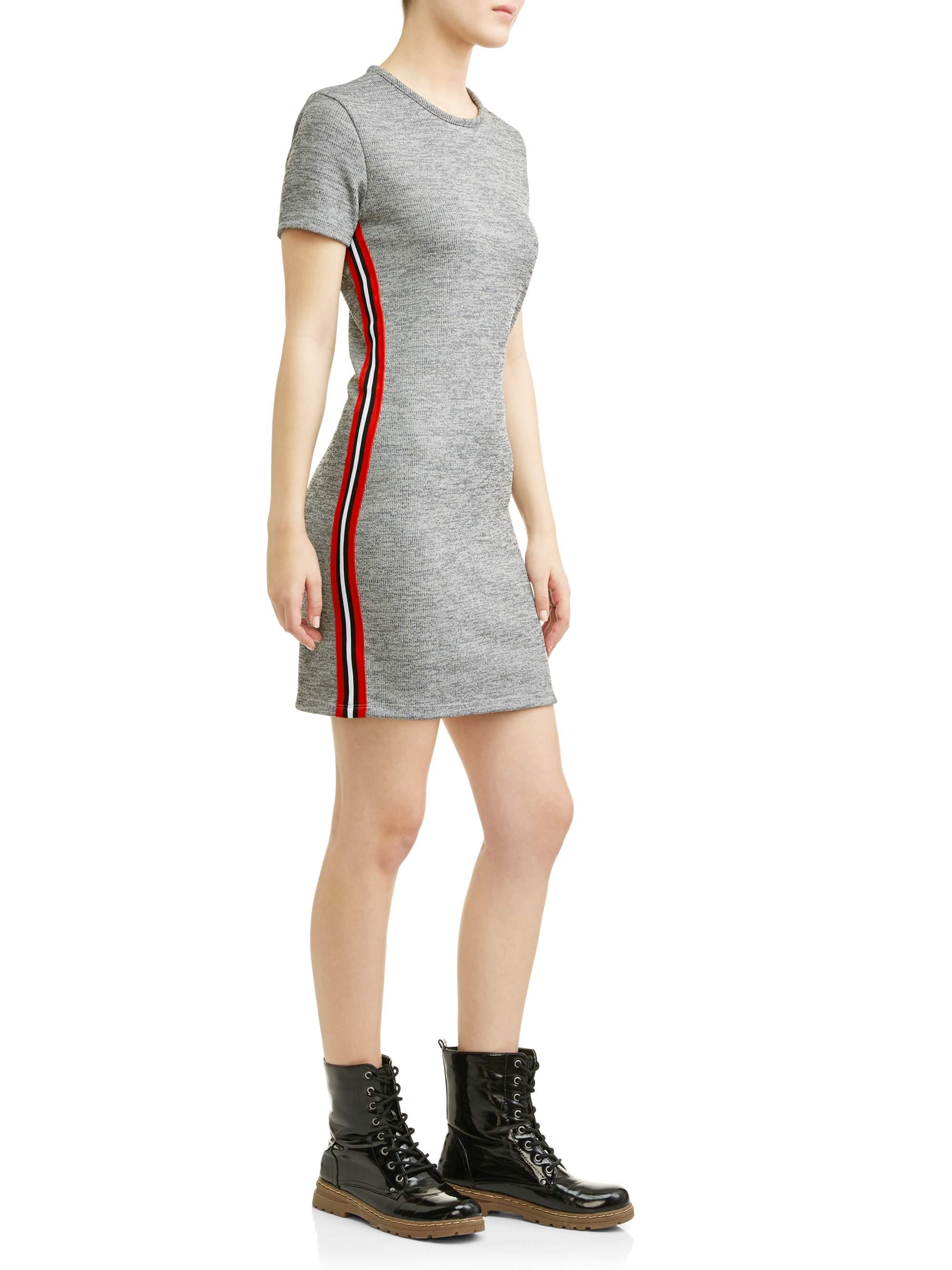 Juniors' Marled Knit Side Stripe Mini Dress