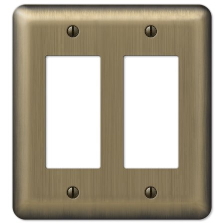 Image of Amerelle 154RR Decorative Round Corner Steel Wallplate with 2 Rocker, Brushed Brass