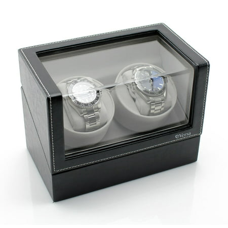 Elite Double Watch Winder - Black Leather
