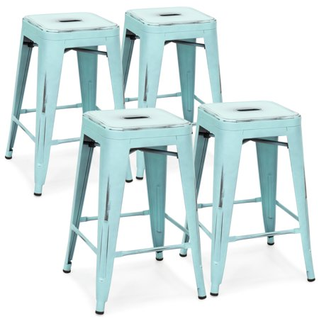 Best Choice Products 24in Set of 4 Stackable Modern Industrial Distressed Metal Counter Height Bar Stools - Blue ()